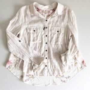 Free People Mixed Media Roll Tab Button Down Shirt